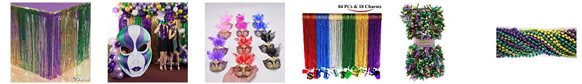 Mardi Gras Beads, Mini Masks Deco, PGG garlands