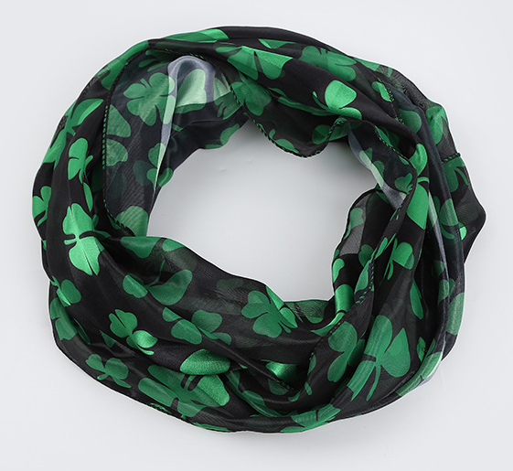 Black Green Shamrock Scarfs