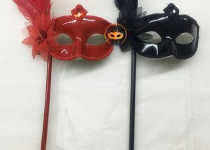Red & Black Feather Party Ball Eye Mask On A Stick