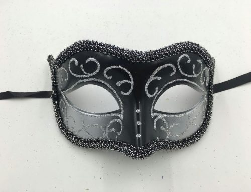 Deluxe Black Silver Mask Venetian Party Masquerade Mask For Men