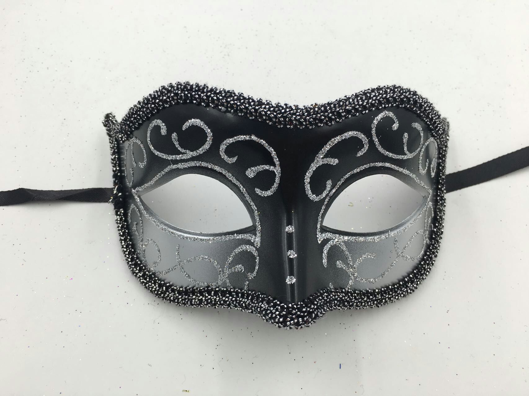 Black Silver Mask Venetian Party Masquerade Mask For Men