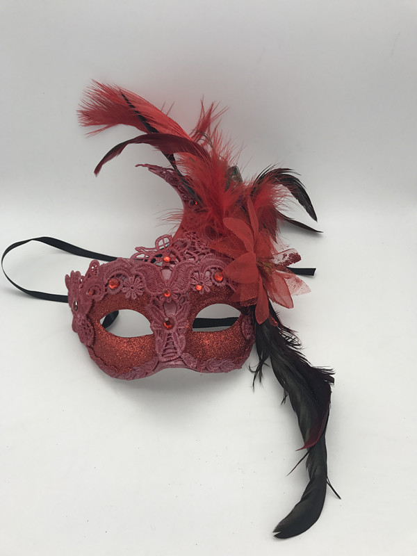 Women s Red Glitter Ball Mask Christmas Costume Party Mask W Feather 7a81c0c1d