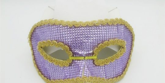 Light Purple Gold Sequined Half Face Eye Mask For New Year Party