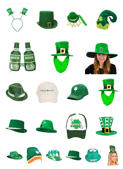 St.Patrick Fashion Green Shamrock Top Hat
