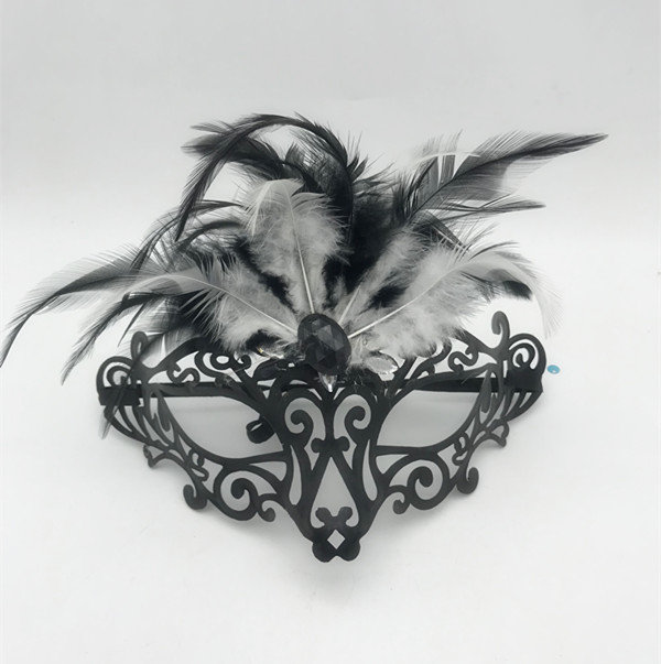 Black Metal Masquerade Mask Filigree Mask Ornamental Feathers
