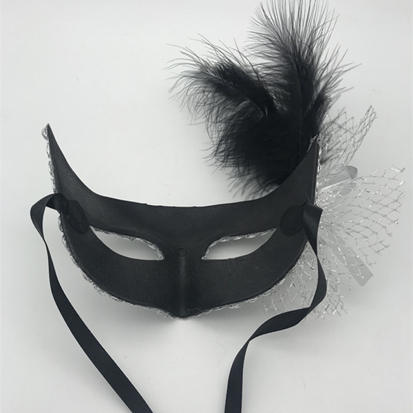 Silver Net Eye Mask W Black Feather Mask- Back