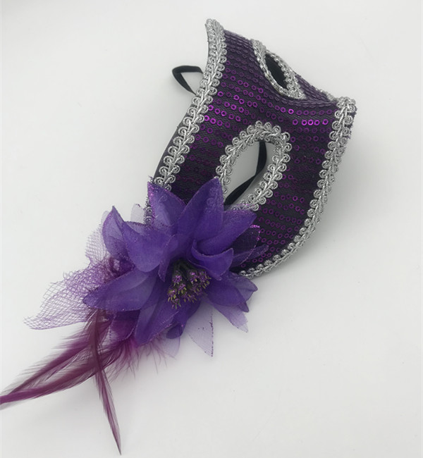 Purple Sequin Eye Mask W Flowers