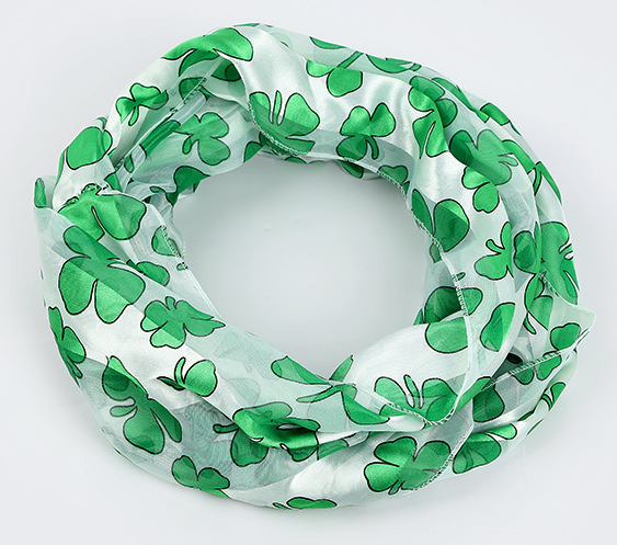 White Green Shamrock Scarfs