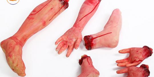 Bloody Hands Feet Prank Props Broken Body Part For Halloween