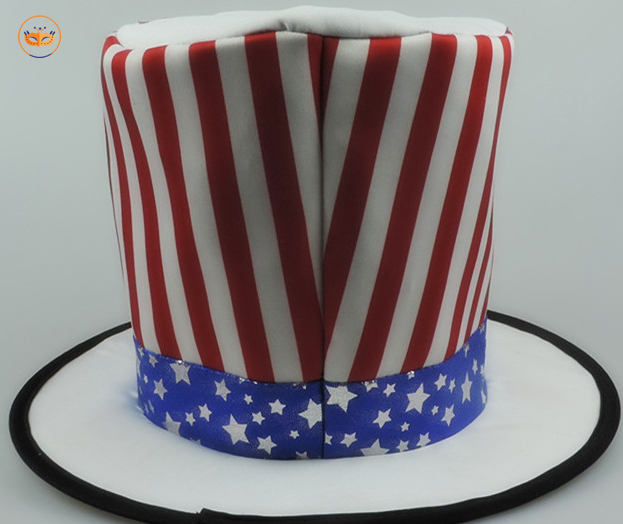 USA Red White and Blue Stovepipe 4th of July Stars and Stripes Flag Top Hat