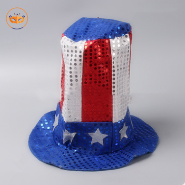 USA Flag Independence Day Uncle Sam Top Sequin Hat