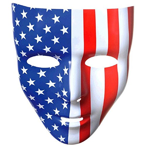 Patriotic Fourth of July Red, White and Blue Stars and Strips Full Face Mask