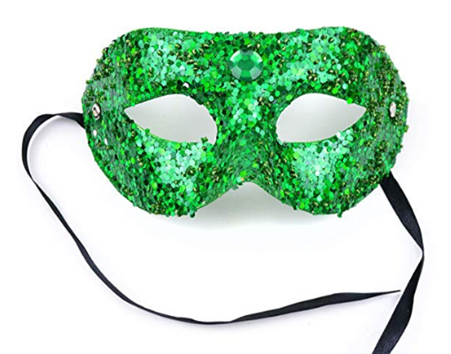 St Patrick Day Green Glitter Half Mask W Rhinestone and Sequins