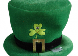 St. Patrick Lucky Green Day Felt Hat W Shamrock Sign