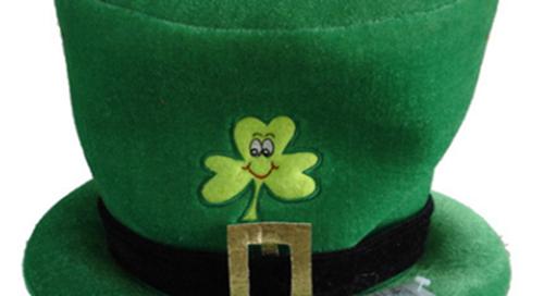 St. Patrick Lucky Green Day Felt Hat W Shamrock Sign