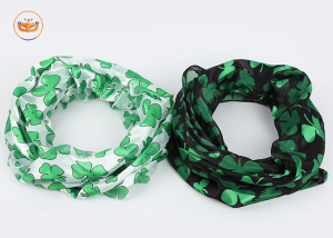Assorted St Patrick Irish Green Black Shamrock Scarfs