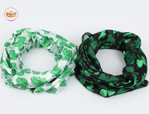 Assorted St Patrick Irish Green Black Shamrock Scarfs For Party City