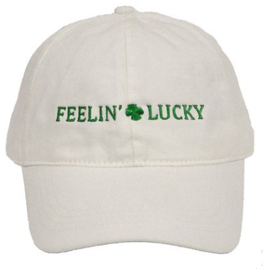White Shamrock Clover Leaf St Patricks Day Embroidered Hat Cap