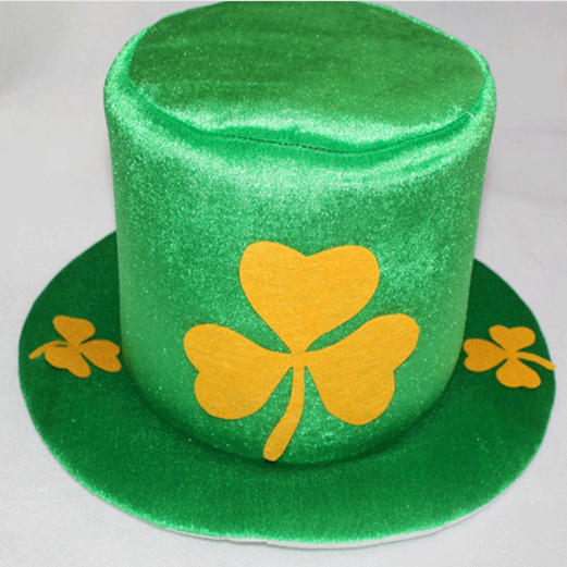 St. Patricks Day Shamrock Green Velvet Hat