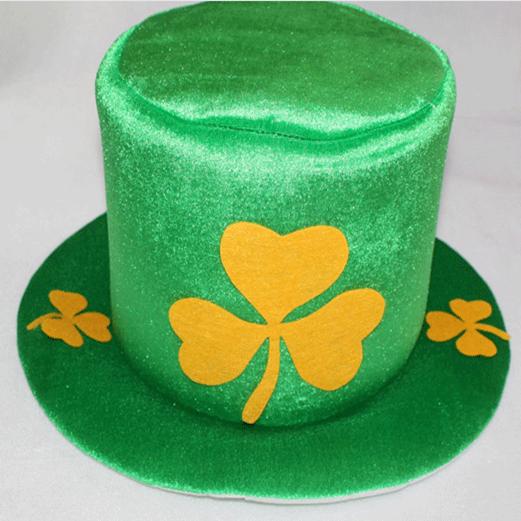 St. Patricks Day Shamrock Green Velvet Hat