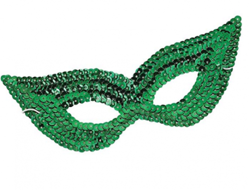 Green Sequin Harlequin Cat Eye Mask St.Patrick Costume Accessories