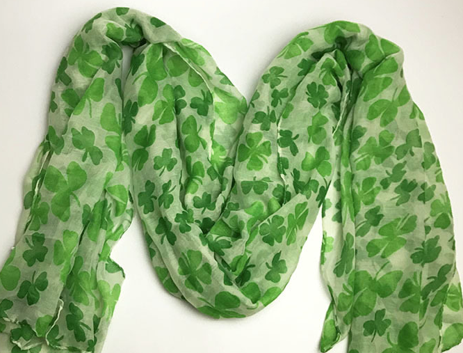 St.Patrick Fashion Green Shamrock Scarf