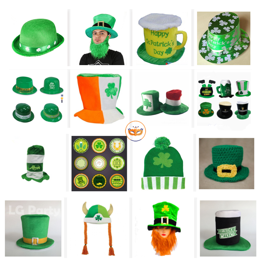 Party Decoration Handmade Irish Hat St Patric Day Green Shamrock Top Hat
