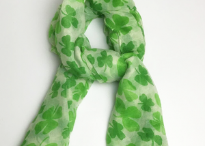 St. Patricks Day Green Shamrock Scarf Party Holiday Scarf Costume Wear