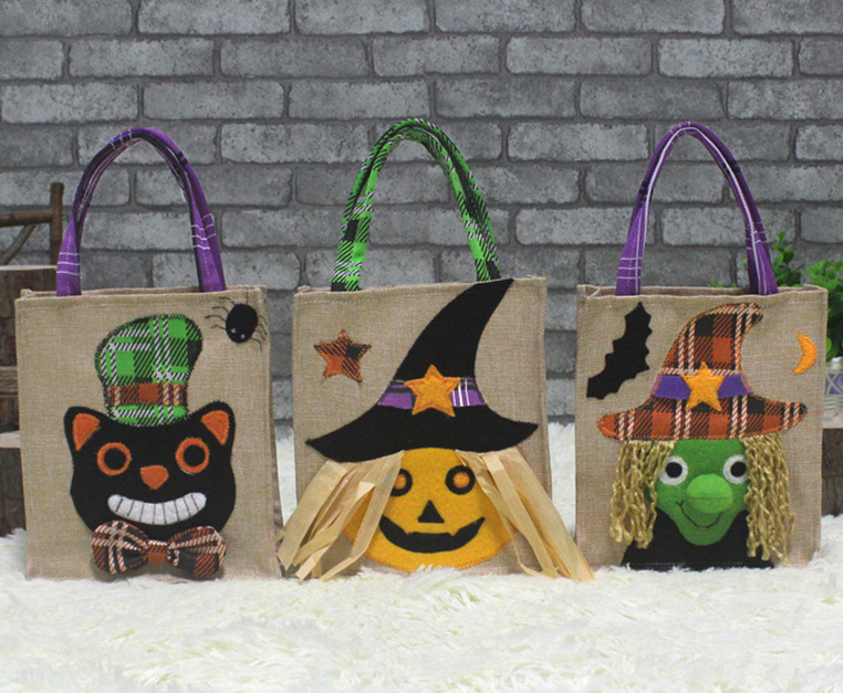 3 Assorted Halloween Holiday Trick-or-Treat Tote Bag Candy Tote Bag Woven Bag