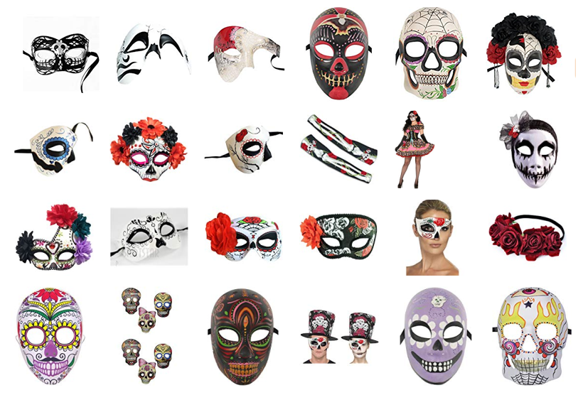 LG Party Day of Dead Flame Eyes Full Face Skull Mask