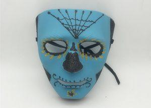 Blue Black Glitter Halloween Day Of The Dead Mask