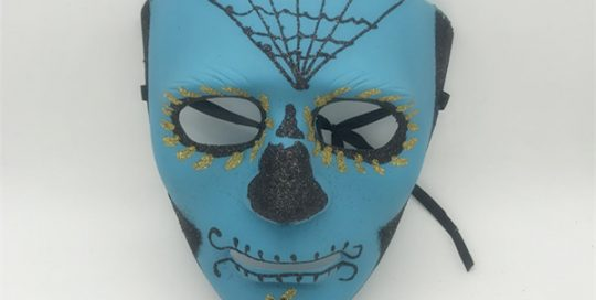 Blue Black Glitter Halloween Day Of The Dead Mask