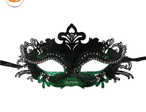 Masquerade Masks Laser Cut Metal Shiny Rhinestone Party Mask St. Patrick