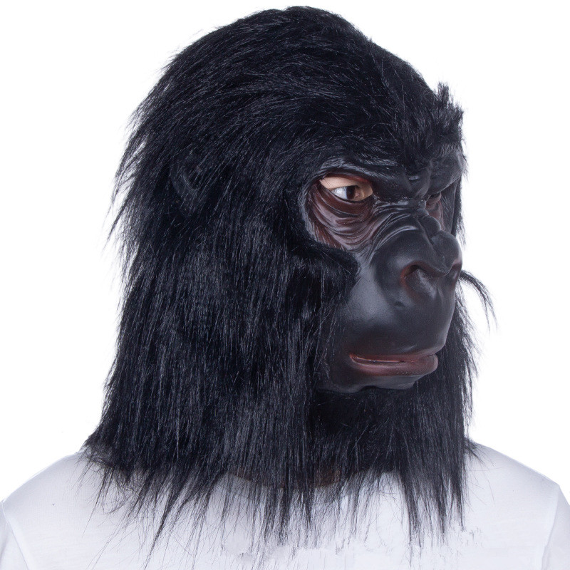 Gorilla Latex Mask W Black Hair