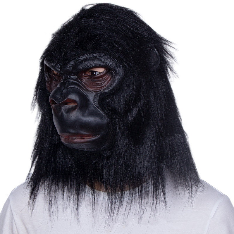 Gorilla Latex Mask W Black Hair Animal Costume Mask