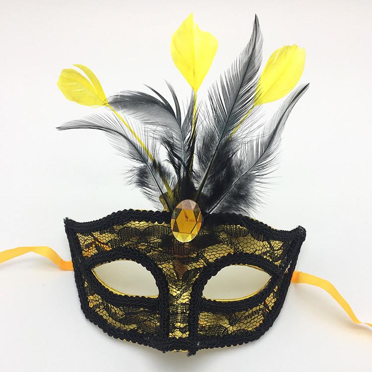 Gold Feather Lace Eye Mask Mardi Gras Carnival Mask