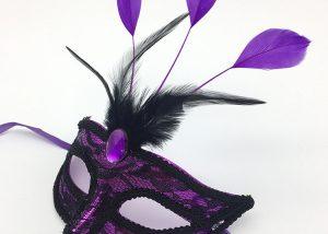 Mardi Gras Carnival Mask Purple Feather Lace Eye Mask
