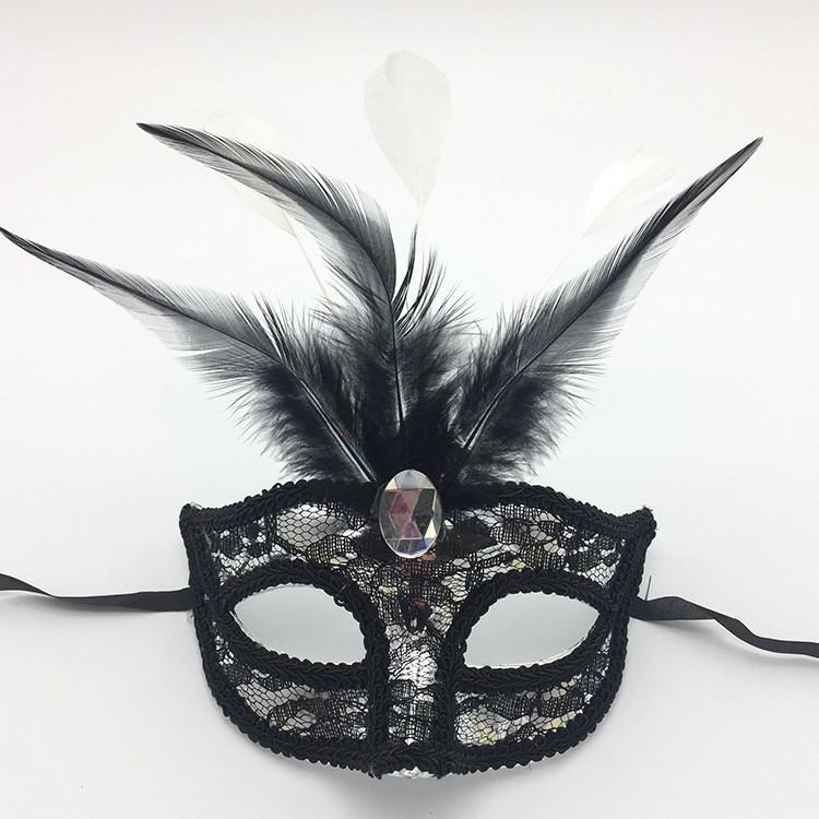 Black Feather Lace Eye Mask Mardi Gras Carnival Mask