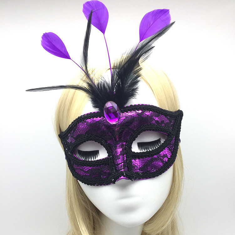 Feather Lace Eye Mask Wearing Sample
