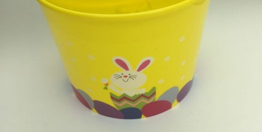 Plastic Painted Bunny Easter Basket with Handle Easter Eggs Festival