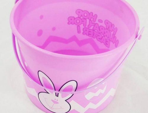 Easter Eggs Basket Plastic Bucket Pink Lego Party Easter Accessory