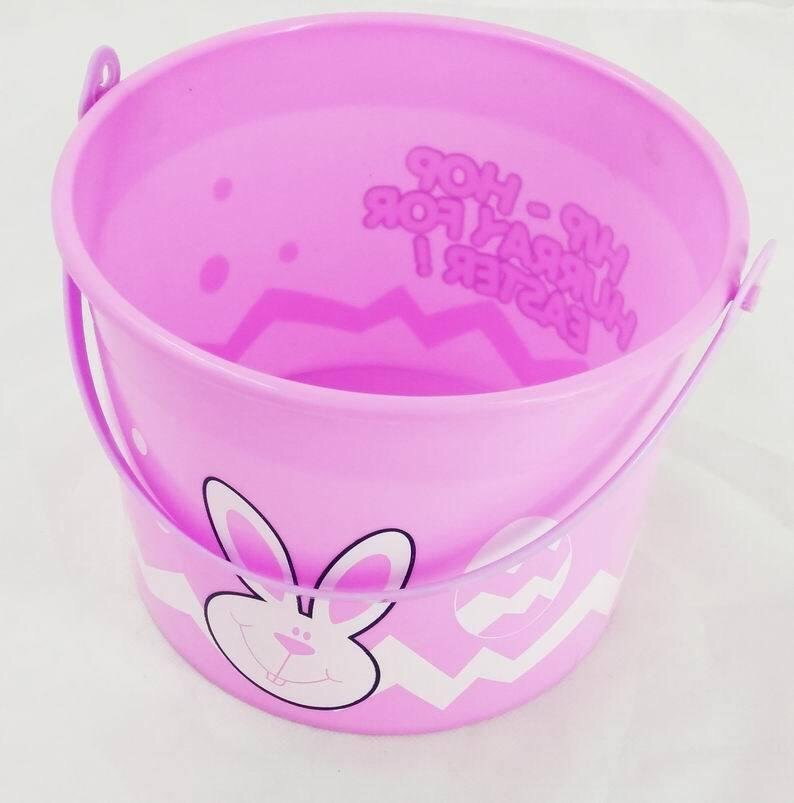 Bunny Easter Eggs Basket Plastic Bucket Pink Lego Party Easter Accessory