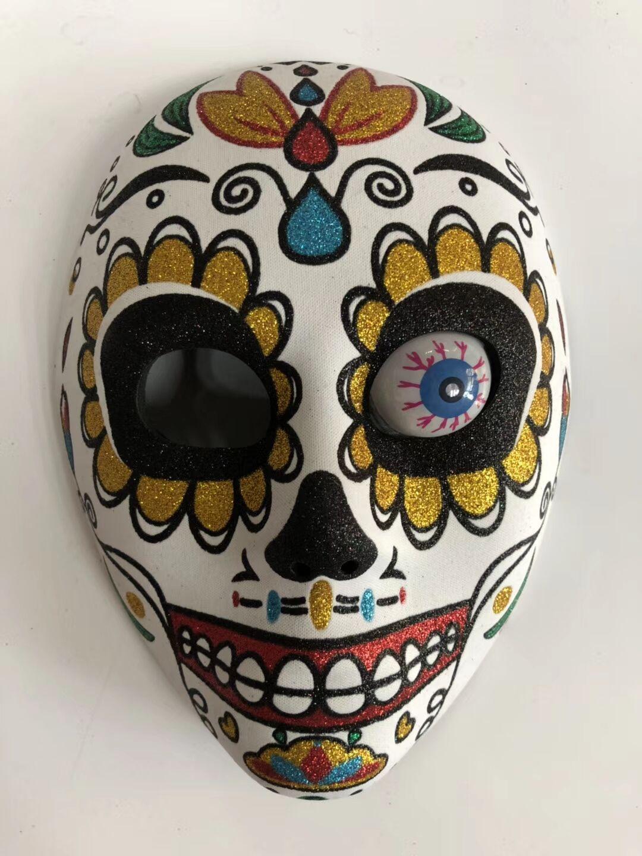 Adult Sugar Skull Glitter Mask With Eyeball
