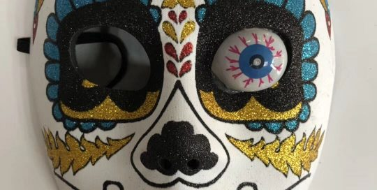 Mexican Sugar Skull Glitter Mask With Eyeball