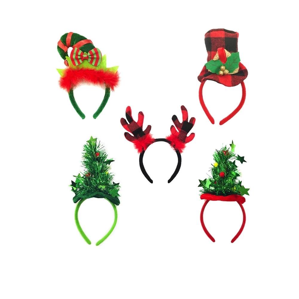 5PCS Christmas Headbands Set Reindeer Headband Elf Headband Christmas Hat Headwear