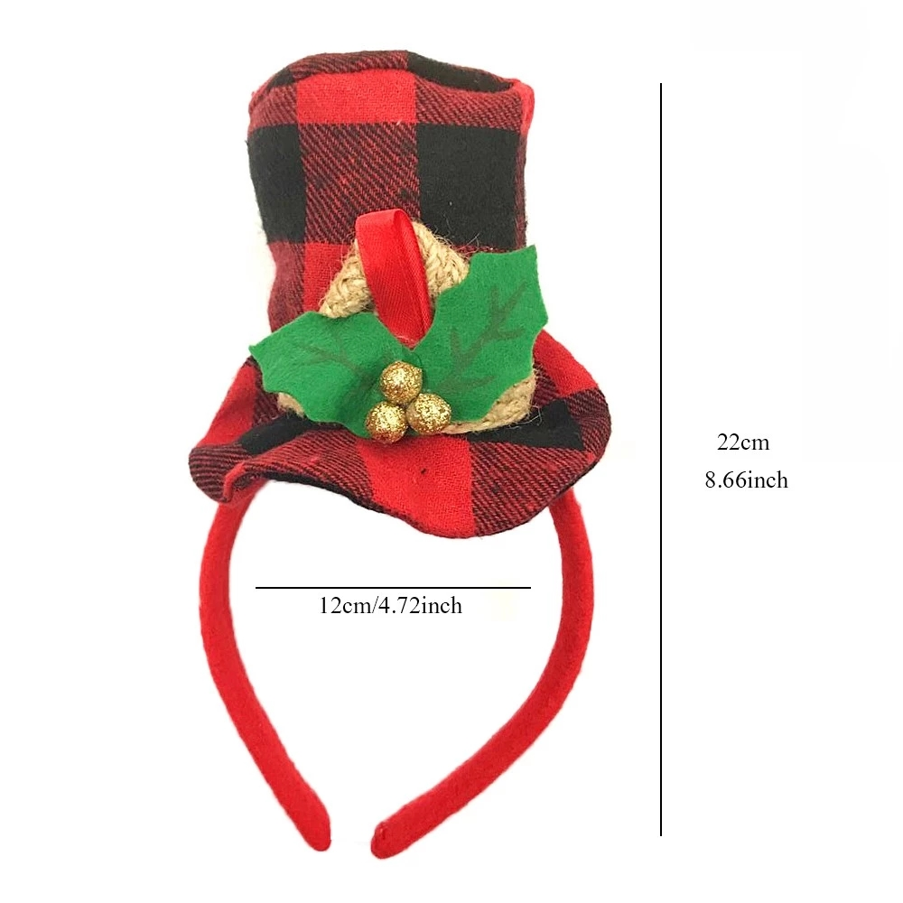 Red Green Fabric Christmas Hat Headband