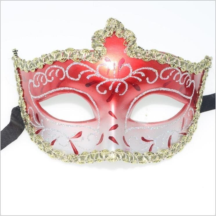 Red Gold Glitter Eye Masks Masquerade Mask