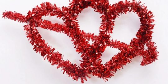 Valentine Gift Outdoor Decoration Double Red Hearts Wreaths Party Garland