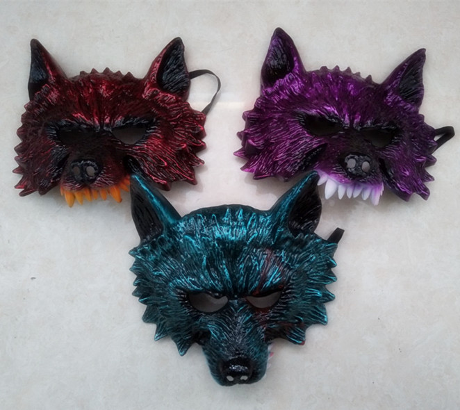Assorted Color Costume Wolf Masks For Adult