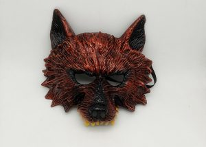 Red Shinny Costume Wolf Mask For Adult